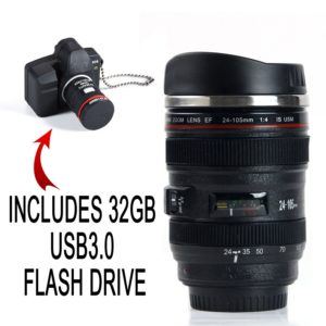 Camera Lens Travel Thermos & Camera Shape 32GB USB 3.0 Flash Drive